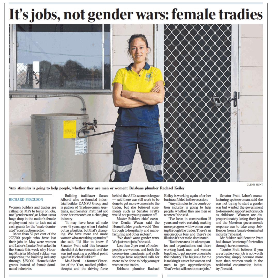 It's jobs, not gender wars: female tradies - p6 The Australian 19 June 2020