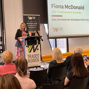 Fiona McDonald, CEO of Tradeswomen Australia speaking about the Workplace Diversity Project.